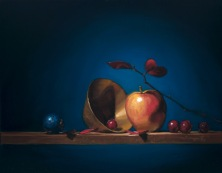 "apples grapes and brass | 16"" x 20"" oil on canvas"