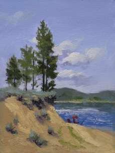 lake davis view | 8″ x 6″ oil on canvas board SOLD private collection