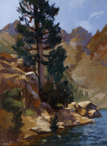 "upper sardine lake  |  8"" x 6"" oil on canvas board"
