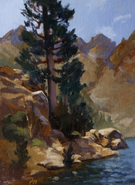 "upper sardine lake | 8"" x 6"" oil on canvas board"