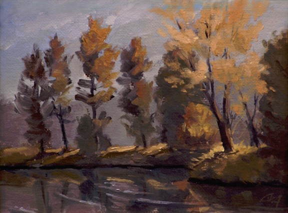 "idlewild park - fall  |  6"" x 8"" oil on canvas board"