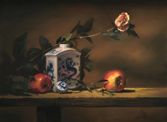 "porcelain with apple and rose | 12"" x 16"" oil on canvas - SOLD private collection"
