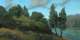"summer bank - shasta | 8"" x 16"" oil on board - SOLD Renown permanent collection"