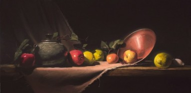 "teapot with apples and lemons | 12"" x 24"" oil on canvas"