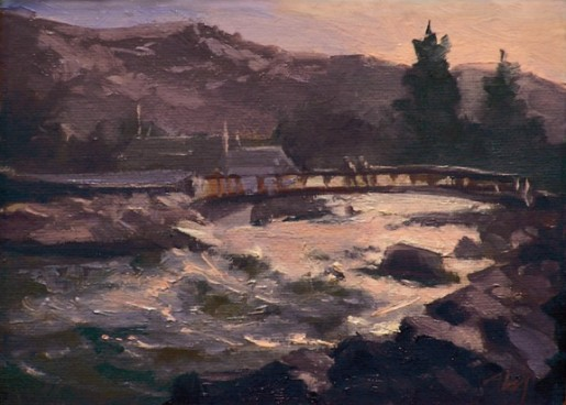 "truckee river at wingfield | 6"" x 8"" oil on canvas - SOLD private collection"