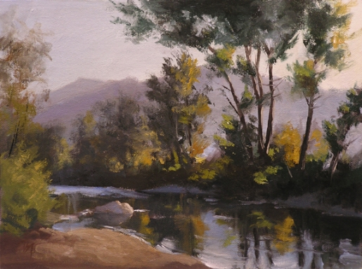"on the truckee, verdi - early fall | 9"" x 12"" oil on canvas board - SOLD private collection"