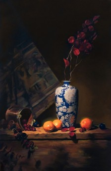 "white and blue vase with oranges | 36"" x 24"" oil on canvas"