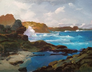 maui waves | 12 x 9 in. oil on canvas board- SOLD private collection